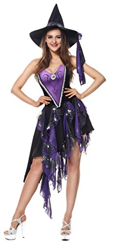 Luruiya Women's Deluxe Bewitching Beauty Halloween Costume Purple Large/X-Large (Bewitching Beauty Sexy Costume)