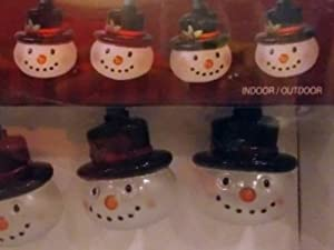 10 Count Top Hat Snowman Lights Novelty String Light Set Holiday Christmas