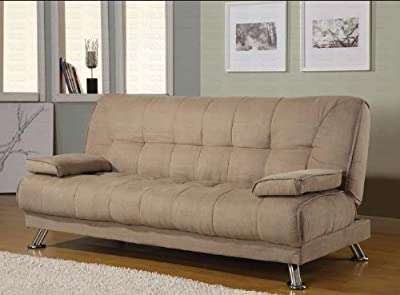 Order Now Futon Sofa Bed With Removable Arm Rests In Tan