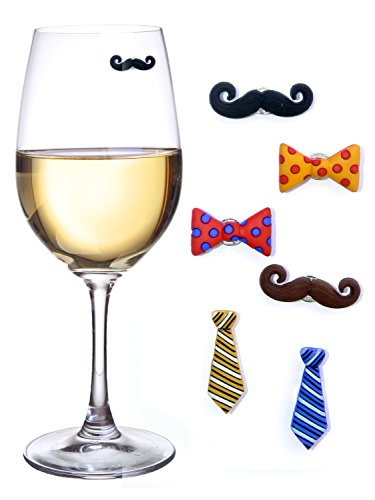 Simply Charmed Mustache Wine Charms & Magnetic Drink Markers for Stemless Glasses, Beer Mugs & More - Set of 6 'Staches and Ties - Perfect Wine Gift for Him