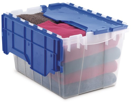 Akro-Mils 66486 CLDBL 12-Gallon Plastic Storage KeepBox with Attached Lid, 21-1/2-Inch by 15-Inch by 12-1/2-Inch, Semi Clear picture