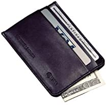 High Polished Cowhide Aniline Leather Credit Card Money Clip Color: Black