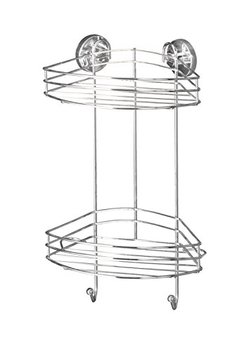 wenko-20885100-vacuum-loc-eckregal-2-etagen-befestigen-ohne-bohren-stahl-23-x-43-x-21-cm-chrom