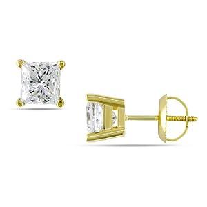 14k Yellow Gold 2ct TDW Diamond Stud Earrings (H-I, SI2-I1)