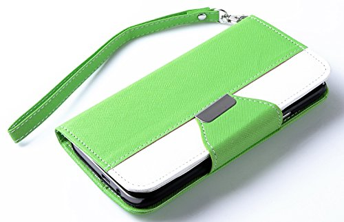 Mylife Spring Green And Bright White {Classic Fashion Design} Faux Leather (Card, Cash And Id Holder + Magnetic Closing) Slim Wallet For The All-New Htc One M8 Android Smartphone - Aka, 2Nd Gen Htc One (External Textured Synthetic Leather With Magnetic Cl