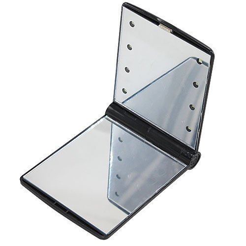 Foonee 8 Led Light Cosmetic Make Up Compact Portable Folding Fold Mirror,Black