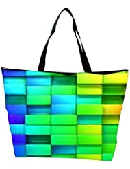 Snoogg Colorful Blocks Designer Waterproof Bag Made Of High Strength Nylon - B01I1KLUEA