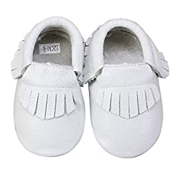 Unique Baby 100% Genuine Leather Baby Moccasins Anti-Slip Shoes XS (4.5 inches) White