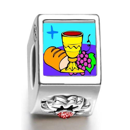 Soufeel Religion Bread & Wine January birthstone Photo Flower European Charm Bead Bracelets