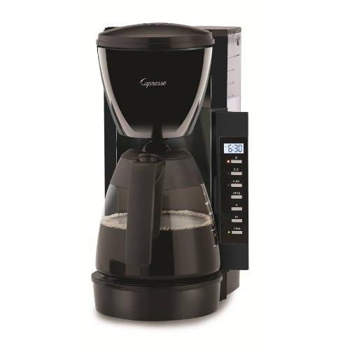 Capresso CM200 10-Cup Programmable Coffee Maker, Black Brew Station Automatic Coffee Maker ...