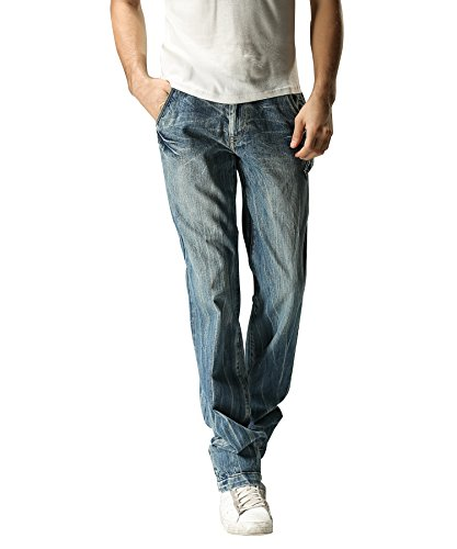 FOX JEANS Men's Greg Standar Fit Straight Blue Denim Jeans (32W x 34L)