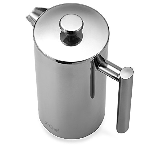 French Press, X-Chef Double Wall Stainless Steel Coffee Maker Camping French Press, (34oz,1L) Shatterproof Good Christmas Gift