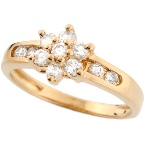 14k Real Yellow Gold Flower CZ Every Day Beautiful Ring