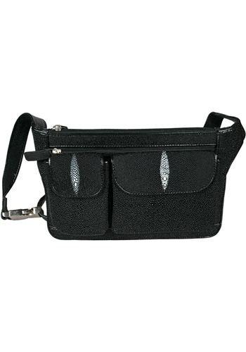 Black Fanny Pack / Belt Bag - Genuine Stingray Skin Leather