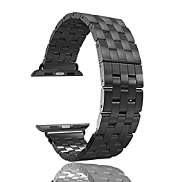 Mydeal 24mm Stainless Steel Apple Watch Band Strap Wristband Multi-links Adjustable W/ Dual Button Metal Clasp for Apple Watch iWatch / Sport / Edition 42mm Space Gray