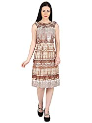 Woodin Frilled Boat Neck Printed Knee long Dress for Women