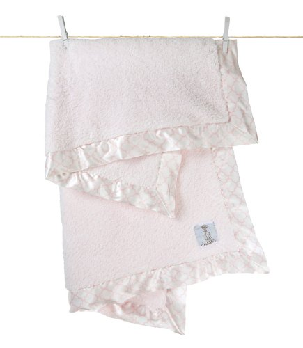 "Little Giraffe Chenille Moroccan baby Blanket, 29"" x 35"", Pink"