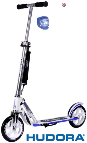 Hudora Scooter / Roller / Cityroller Big Wheel MC / RX 205 mit LENKERLICHT (RX RACING WEIS BLAU)