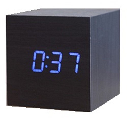 Cube Shaped LCD Display Digital Alarm Clock Wooden Comapct Clock Blue Number Dark Brown Body