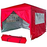 Quictent 10'x10' Red Pop Up Gazebo Canopy Silver-coated Waterproof With 4 Sidewalls 100% Waterproof