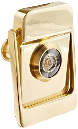 """Rockwood 614V.3 Brass Door Knocker with Door Viewer, 2-1/8"""" Width x 3"""" Height, Polished Clear Coated Finish"""