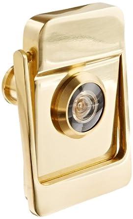 Rockwood 614v 3 brass door knocker with door viewer 2 1 8 width x 3 height polished clear - Brass door knocker with viewer ...