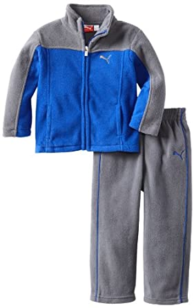 PUMA Little Boys' Toddler Colorblock Polar Fleece Set, Surf Web, 2T