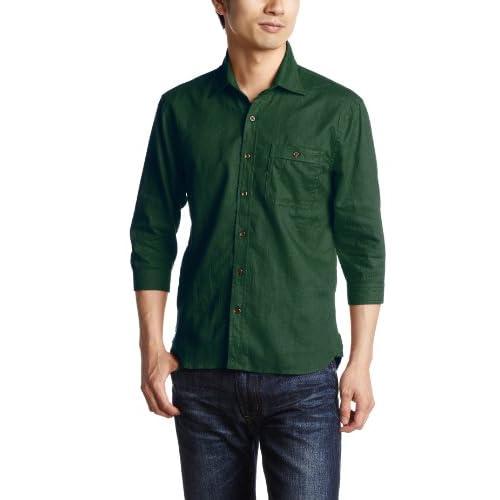 (ビーノ)BENO 麻混7分袖シャツ 221L2025 70 D/グリーン M