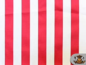 """Indoor/Outdoor Waterproof Deck Stripe RED WHITE Fabric / 54""""W / Sold by the Yard"""