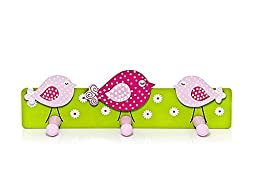 Charming Pink Bird Design Triple Coat Hooks for Girls Bedroom or Nursery