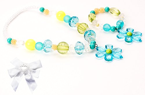 Little Adventure Teal & Lime Flower Kids Chunky Necklace & Bracelet with Bow