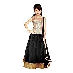 Beautiful Net Partywear Kids Black Lehenga Choli (32 inches , 9-10 Years)