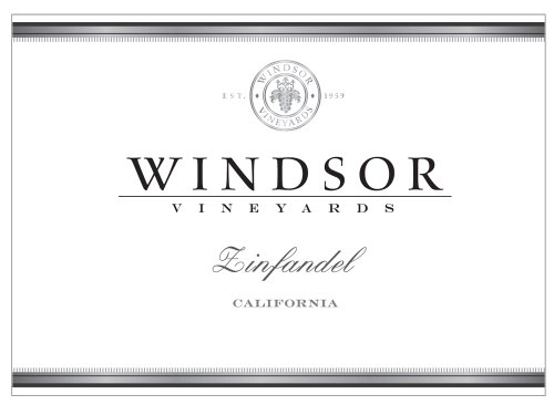 2010 Windsor Vineyards Zinfandel, California, 750Ml