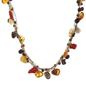 Chuvora Genuine Multi Gemstones Gold Silk Thread Necklace with Lobster Claw Clasp 16''-18'' Princess Length