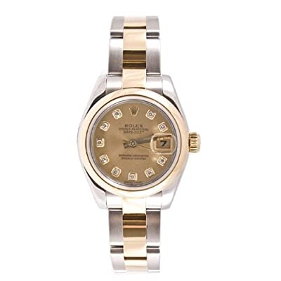 Rolex Ladys 179163 Datejust Steel & Gold Oyster Band, Smooth Bezel & Champagne Diamond Dial