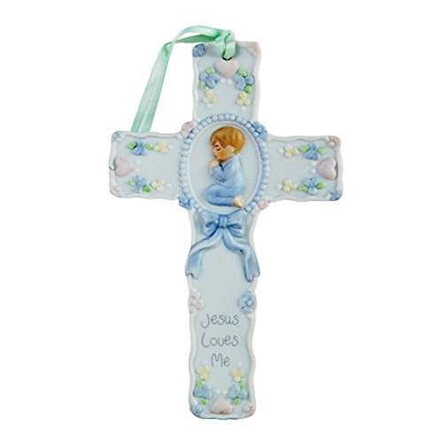 Pacific Giftware Jesus Loves Me Little Boy Prayer Cross Porcelain Bisque Finish Figurine, 5.5'' W