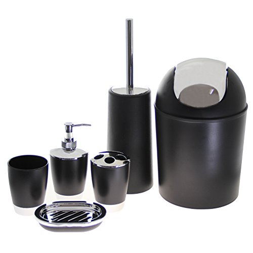Justnile 6 piece bathroom accessory set trendy black for Silver bathroom set
