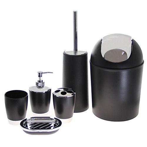 Justnile 6 piece bathroom accessory set trendy black for Black and silver bathroom accessories