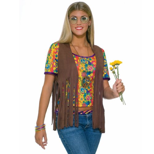 Womens Hippie Costume 70s Faux Suede Brown Fringed