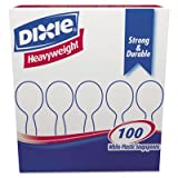 Dixie Plastic Cutlery, Heavyweight Soup Spoons, White, 100/Box