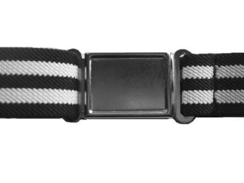 Kids Toddler Elastic Stretch Magnetic Buckle Belts - Black Stripe