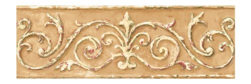 York Wallcoverings Small Treasures Architectural Scrollwork Prepasted Border, Tan/Cream/Green/Cranberry front-487755