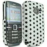 Fonezz Accessoriesz Nokia C3-00 White Hard Back Polka Dot Case