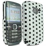 Fonezz Accessoriesz Nokia C3-00 White Hard Back Polka Dot Case