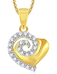 Meenaz Gold Plated Heart Pendant With Chain For Girls And Women PS383