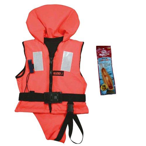Lalizas Schwimmweste Rettungsweste 30 - 40 kg ISO 12402-4 zertifiziert, incl. Leuchtstab für einmalige Verwendung