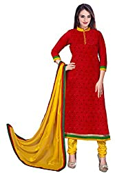 DKS Designers Women's Chanderi Unstitched Dress Material (RC102_Red_Free Size)