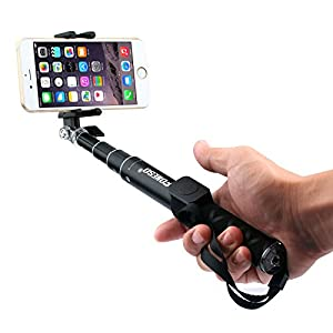 Selfie Stick, Foneso Foldable Self-portrait Monopod Compatible with GoPro, iPhone, Samsung, HTC and other smartphones (Black)