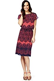 Drawstring Floral Print Placement Dress