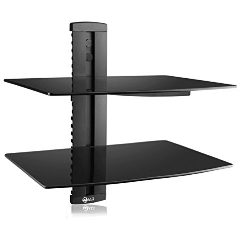 WALI Floating Shelf with Strengthened Tempered Glass for DVD Players/Cable Boxes/Games Consoles/TV Accessories, 2 Shelf, Black (Shelves For Consoles compare prices)